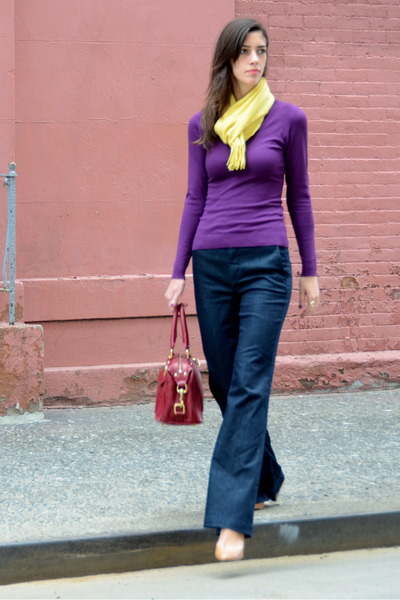 navy wide leg vince jeans - purple H&M sweater - yellow cashmere Uniqlo scarf