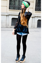 Jeffrey Campbell shoes - Zara tights - Chanel purse - Vintage Levis Jean shorts