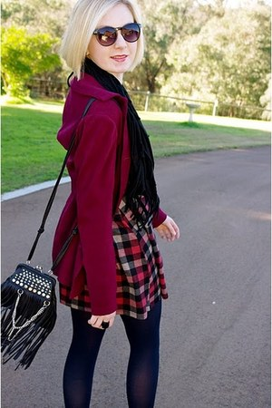 ruby red Ali Wood jacket - black bardot scarf - black Colette bag