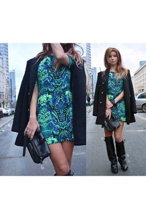 green leather wedges NN dress - black Givenchy boots - chiffon Jimmy Choo bag