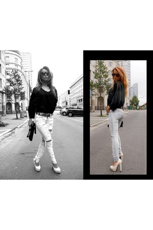 silk no name blouse - Stradivarius jeans - Jimmy Choo bag