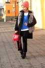 Black-zara-coat-salmon-stradivarius-hat-gray-vintage-jacket