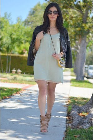 black Anthropologie jacket - light blue Alana Hale dress