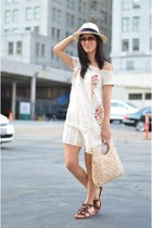 white smocked Anthropologie dress - white panama J Crew hat - cream vintage bag