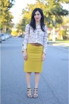 gold J Crew skirt - camel Diane Von Furstenberg bag - bronze Sole Society heels