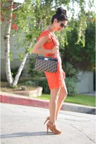 coral Anthropologie dress - navy vintage dior bag