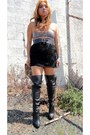 Thigh-high-boots-bra-skirt-clearance-4-belt-feather-earrings-necklace