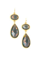 IRIDESCENT BROWN GOLD FRAMED DOUBLE DROP EARRINGS