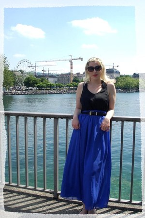 deep purple maxi skirt Primark skirt - black ballet flats Primark flats