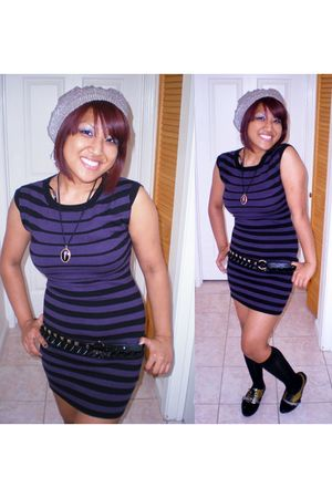 purple dress - silver hat - black necklace - black shoes - black belt - silver e
