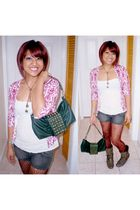 red cardigan - white top - gray shorts - red tights - green purse - brown neckla