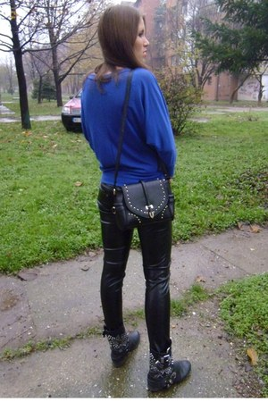 black leather studded Zara boots - black OASAP bag