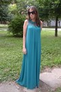 Turquoise-blue-maxi-dress-oasapcom-dress-red-cherries-shape-oasapcom-earrings