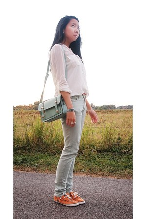 light blue Uniqlo jeans - aquamarine bag - ivory Charles Vgele blouse