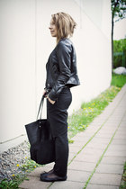 black leather jacket Selected jacket - black Selected bag