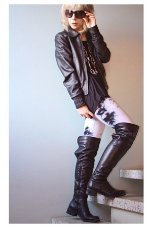 H&M jacket - American Apparel t-shirt - GINA TRICOT leggings - Ten Points boots