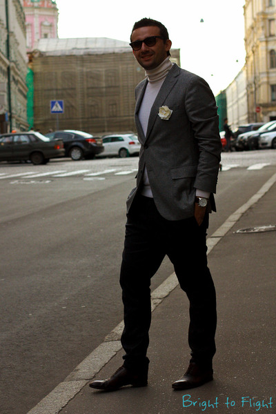 gray neil barrett pants - brick red Gucci shoes - heather gray Zegna jacket