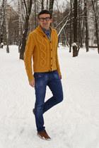gold Diesel cardigan - burnt orange Dolce&Gabbana boots