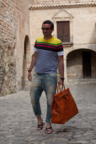 orange Sandal Shop bag - aquamarine Diesel jeans - orange Ray Ban sunglasses