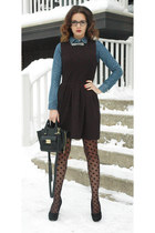 black polka dot H&M tights - black skater One Clothing dress - blue H&M shirt