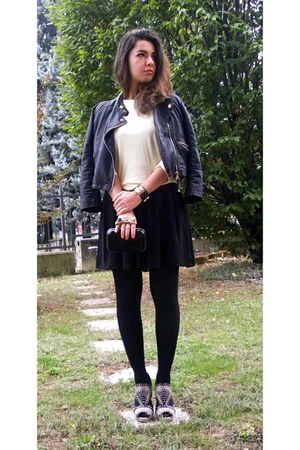 black Bershka dress - black leather jacket Twin-Set jacket - black bag
