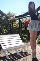black Old Ballet wrapcardigan cardigan - white Singlet t-shirt - blue Tie dye sk