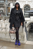 14cm plateau Boohoocom heels - vintage coat - cotton H&M hat - Bershka shirt