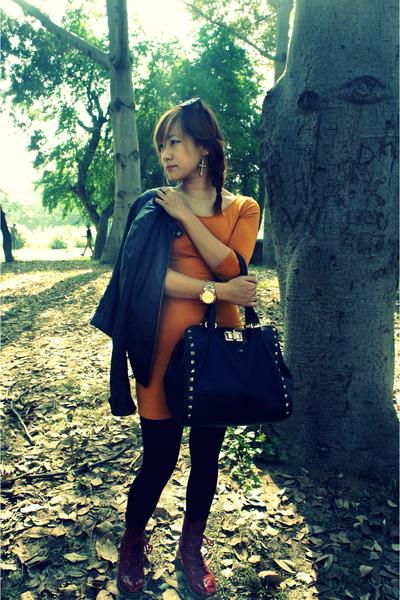 studded bag Aldo bag - mustard Forever 21 dress - fitting Promod jacket