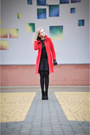 Black-zara-dress-red-topshop-coat-black-stradivarius-heels