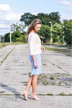 tan Stradivarius sandals - light pink Mohito blouse - sky blue Yups skirt