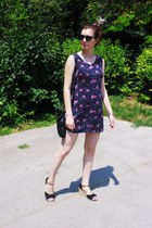 black bag - amethyst dress - black glasses - black wedges