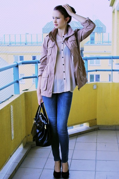 pink H&M coat - dark brown MAXX bag - light pink H&M blouse