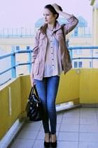 pink H&M coat - dark brown MAXX bag - light pink H&M blouse