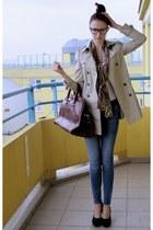brown scarf - beige Zara coat - blue Vero Moda jeans