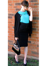 Aquamarine-thrifted-vintage-sweater-black-merona-thrifted-cardigan-black-be-