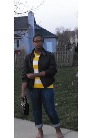 black Nautica jacket - Gap sweater - Old Navy jeans - vintage purse