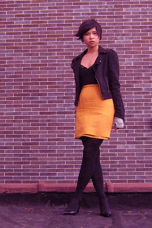 Old Navy kids jacket - shirt - thrift skirt - tights - Kenneth Cole shoes - glov