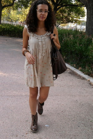 brown Stradivarius boots - mustard pull&bear dress - dark brown Pimkie bag