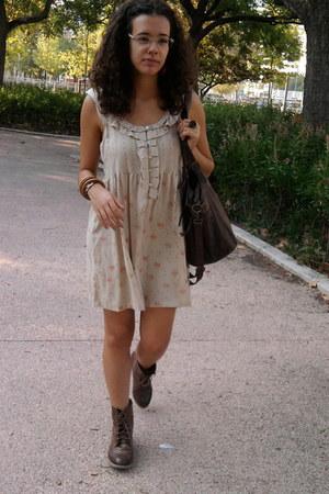brown Stradivarius boots - mustard pull&bear dress - dark brown Pimkie bag