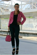 hot pink H&M blazer - hot pink bag - black New Yorker top - gold H&M necklace
