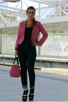 hot pink H&M blazer - hot pink bag - black New Yorker top - gold H&M necklace