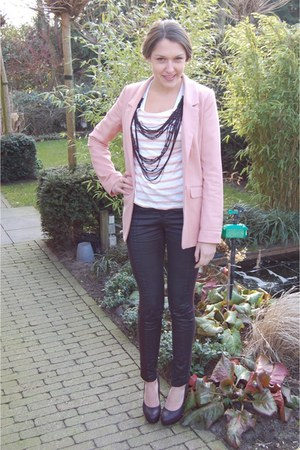 light pink H&amp;M blazer - black Vila pants - light pink Mango top - black Tango he