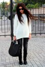 Gray-pimkie-jeans-black-zara-bag-off-white-loft-jumper