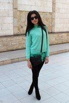 black Bershka boots - aquamarine Bershka sweater - black Bershka leggings