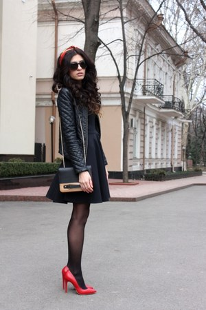 black asos dress - red asos shoes - black Be free jacket - ruby red asos bag