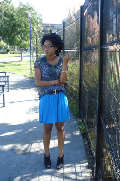 f21 shirt - f21 dress - belt - Bakers shoes