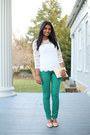 Lace-forever-21-top-green-green-target-jeans-clutch-zara-bag