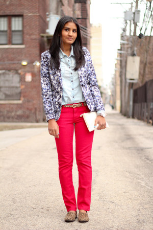 red TJMaxx jeans - printed H&amp;M blazer - chambray Forever 21 shirt