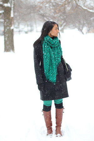 riding boots Vince Camuto boots - wool Macys coat - leopard print hm scarf