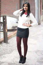 thirfted Forever 21 skirt - ankle boots Target boots - cable knit H&M sweater